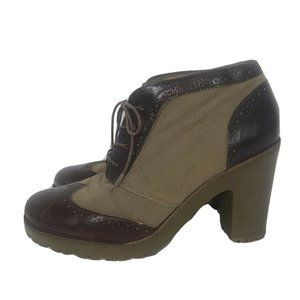 Sperry High Heel Oxford 10 Brown Leather Textile